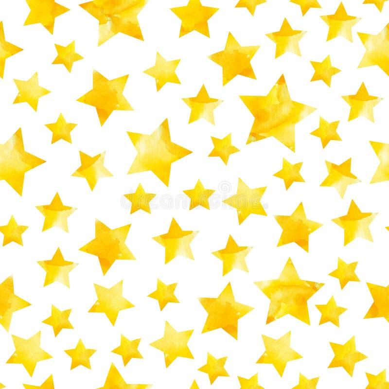 Bezszwowy wzór gwiazdy w jaskrawej żółtej akwareli z przypadkowo rozrzuconymi rozwodami royalty ilustracja
