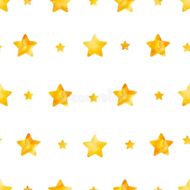 Bezszwowy wzór gwiazdy w jaskrawej żółtej akwareli ilustracji