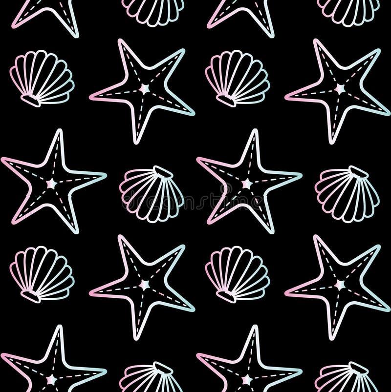 Bezszwowy wzór holograficzna seashell rozgwiazda ilustracja wektor