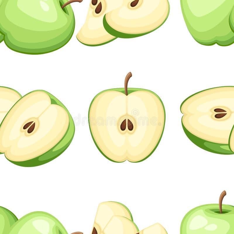 Bezszwowy wzór jabłko i plasterki jabłka Wektorowa ilustracja dla dekoracyjnego plakata, emblemata naturalny produkt, rolnicy wpr ilustracji