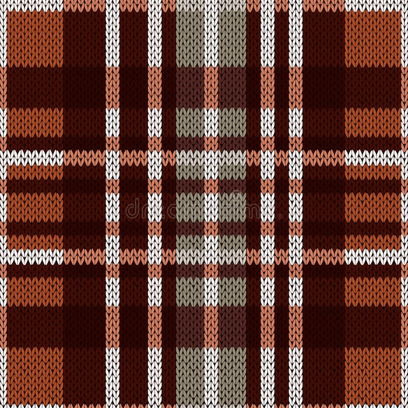 Bezszwowy wzór jako trykotowa tkanina w brązie i siwieje kolory ilustracja wektor