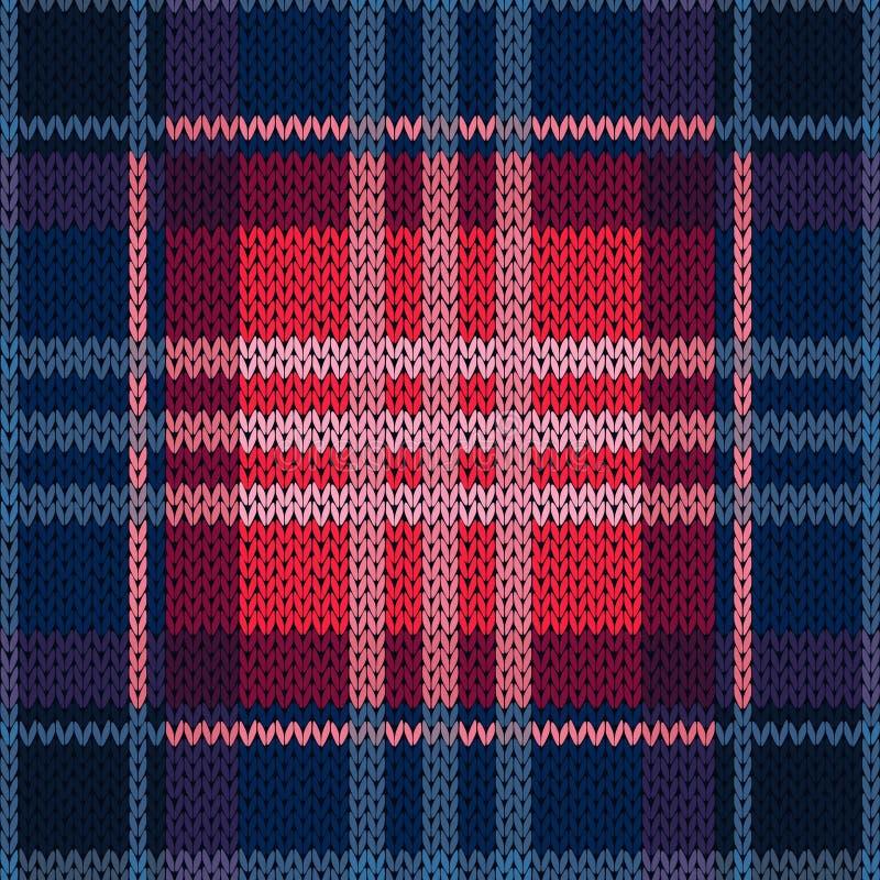 Bezszwowy wzór jako trykotowa tkanina w zmroku - błękit i czerwień ilustracja wektor