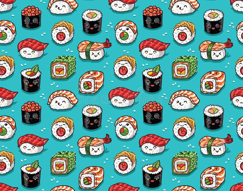 Bezszwowy wzór japoński denny jedzenie w kawaii stylu również zwrócić corel ilustracji wektora ilustracja wektor
