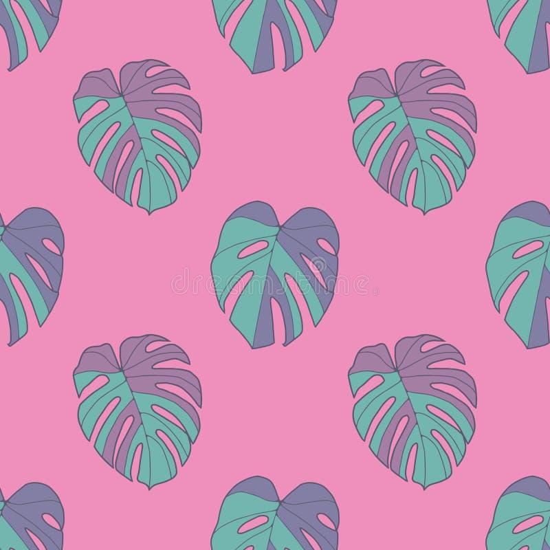 Bezszwowy wzór jaskrawa neonowa cyraneczka barwił tropikalnych Szwajcarskiego sera Windowleaf Monstera Deliciosa rośliny liście n royalty ilustracja