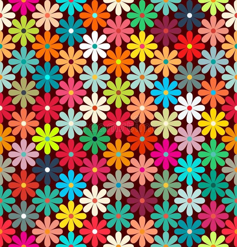 Bezszwowy wzór jaskrawi kolorowi kwiaty ilustracja wektor