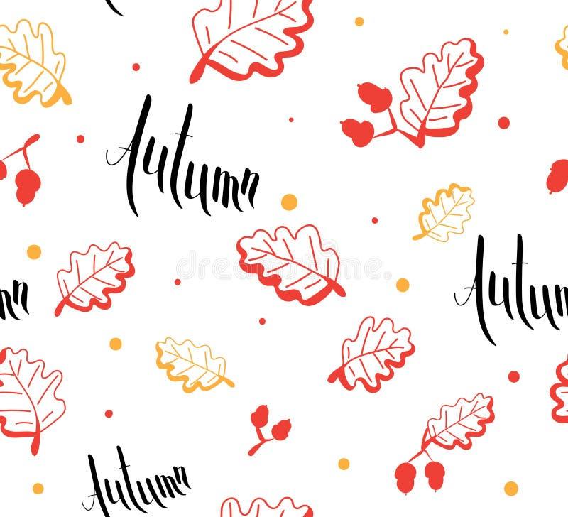 Bezszwowy wzór jesień i liść ręcznie pisany karta royalty ilustracja