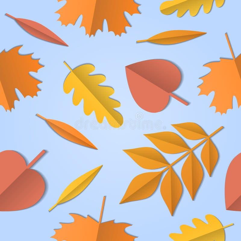 Bezszwowy wzór jesień liście różny drzewo na bławym tle, papierowa sztuka z cieniami, wektor ilustracji