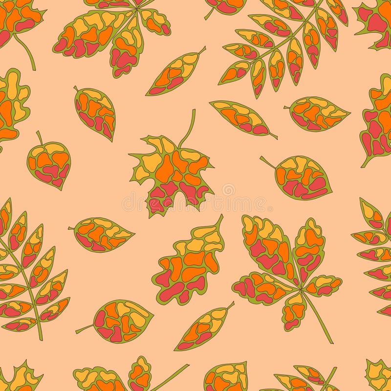Bezszwowy wzór jesiennych liści w stylu szkła nierdzewnego ilustracji