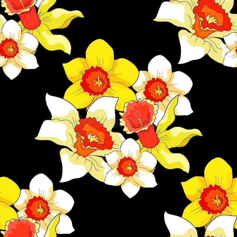 Bezszwowy wzór jest daffodil kwiatu wiosną również zwrócić corel ilustracji wektora ilustracja wektor