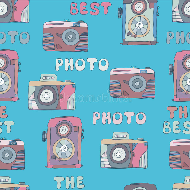 Bezszwowy wzór kamery fotografia tonie doodles ilustracji