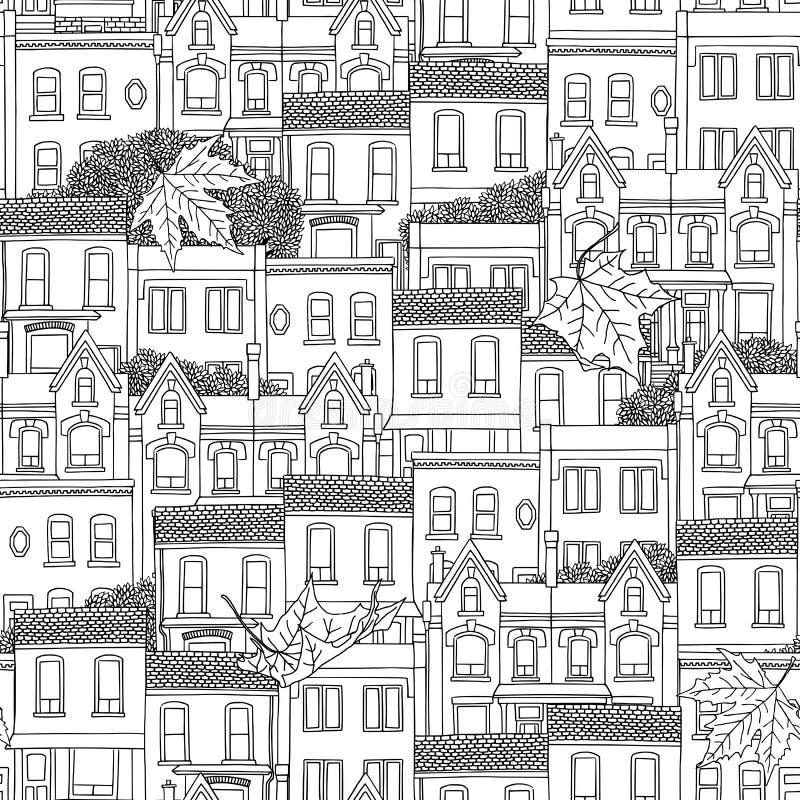 Bezszwowy wzór Kanadyjscy domy ilustracji