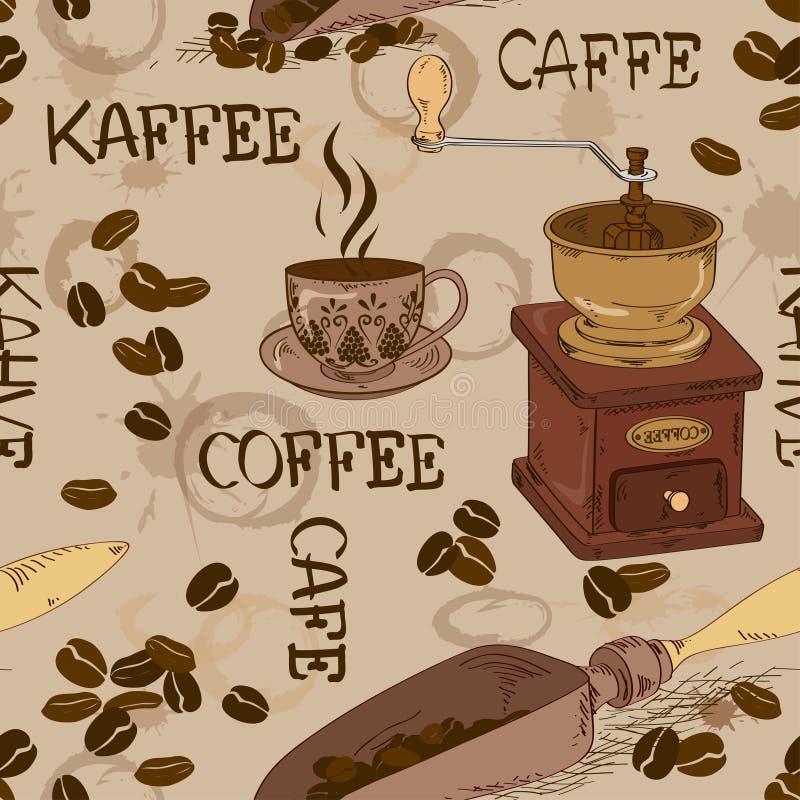 Bezszwowy wzór kawa royalty ilustracja