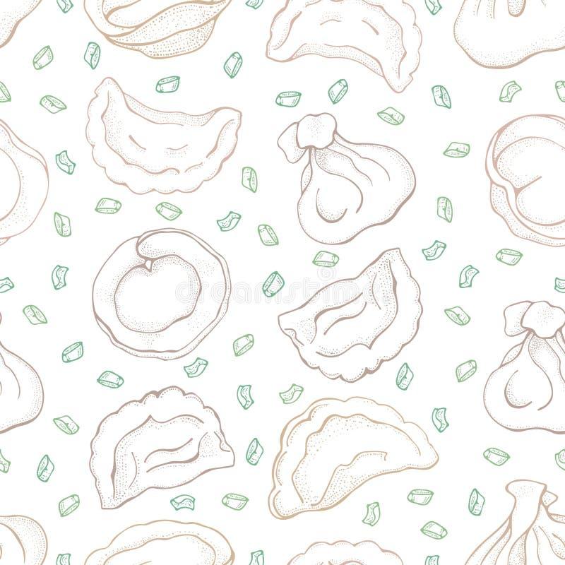 Bezszwowy wzór kluchy z pikantnością piero?ek Vareniki Pelmeni Jedzenie _ bambusa naczy? posi?ku obywatela talerza dywanika owoce ilustracji