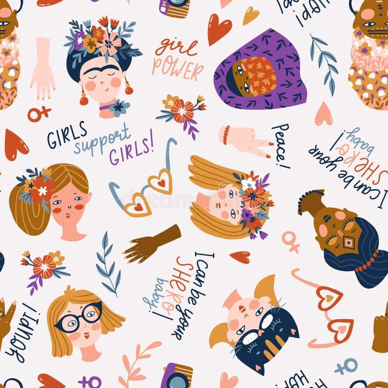 Bezszwowy wzór kobiety, Międzynarodowe kobiety dzień, dziewczyn Śliczne i śmieszne - różne narodowości i religie, protestacyjne d royalty ilustracja