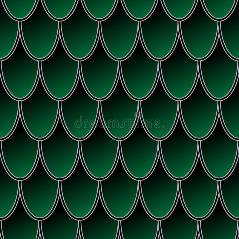 Bezszwowy wzór kolorowe zielone rybie skale, smok skóry wektoru tło ilustracja wektor