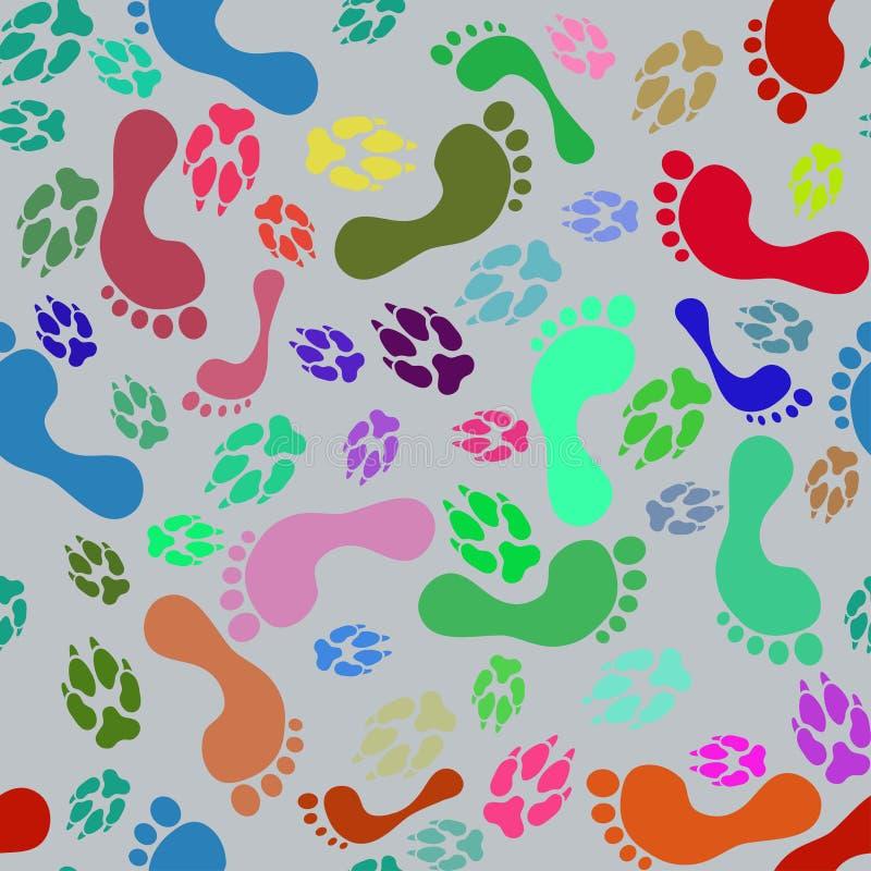 Bezszwowy wzór kolorowi śmieszni ludzkiej stopy druki i psie łapy royalty ilustracja
