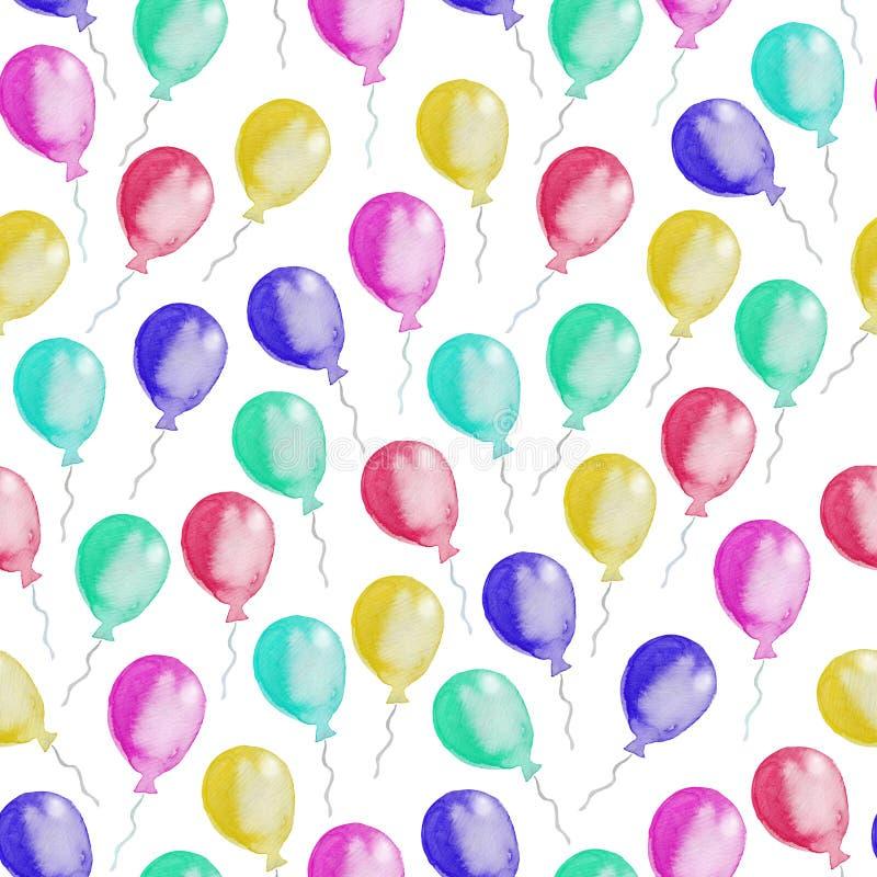 Bezszwowy wzór kolorowi balony beak dekoracyjnego latającego ilustracyjnego wizerunek swój papierowa kawałka dymówki akwarela ilustracja wektor