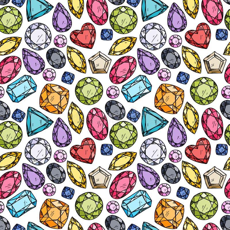 Bezszwowy wzór kolorowi klejnoty ilustracja wektor