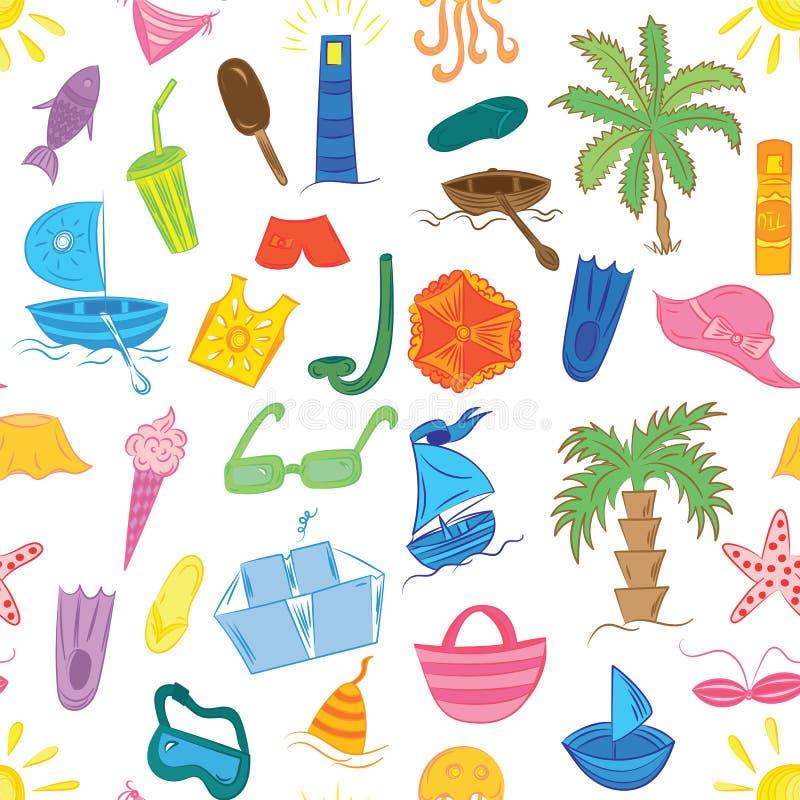 Bezszwowy wzór Kolorowi lato wakatów symbole fotografia stock