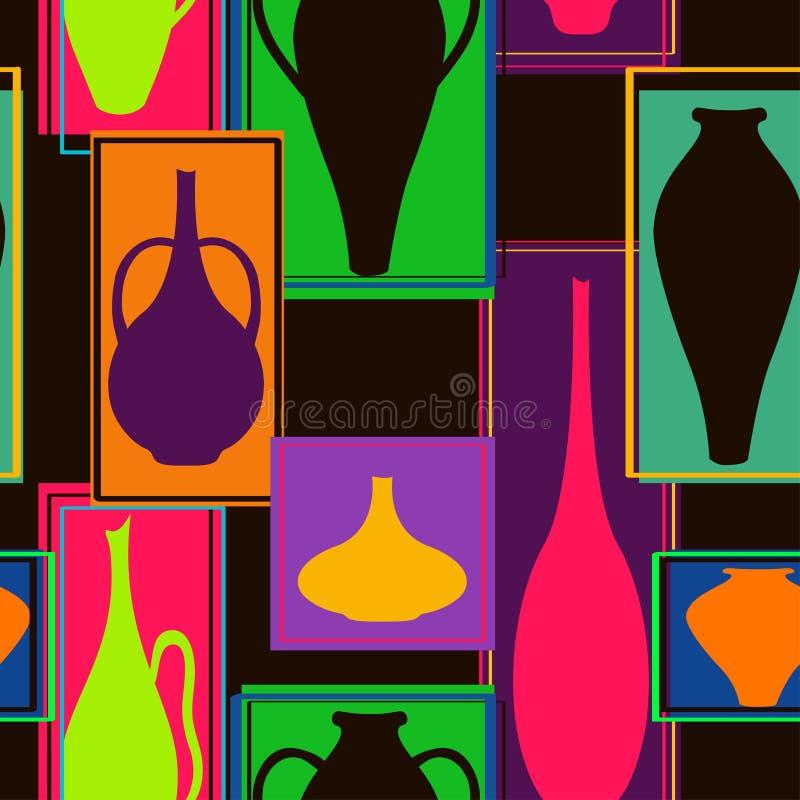 Bezszwowy wzór kolorowy crockery ilustracji