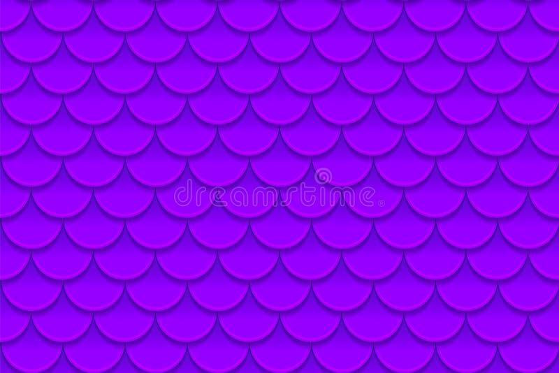 Bezszwowy wzór kolorowy fiołkowy purpurowy rybi waży Rybi waży, smok skóra, Japoński karp, dinosaur skóra, krosty royalty ilustracja