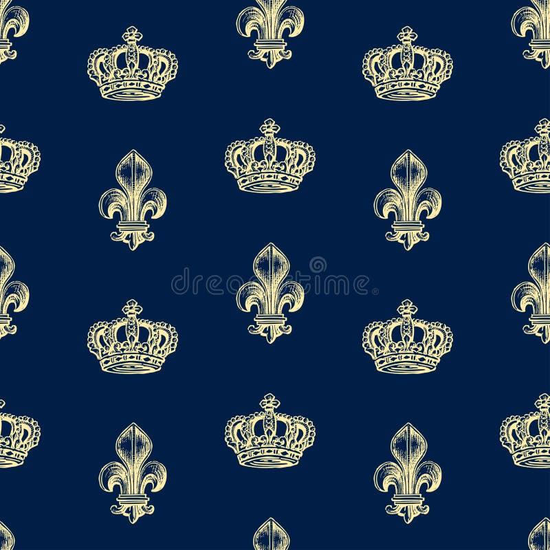Bezszwowy wzór korony i francuz leluje royalty ilustracja