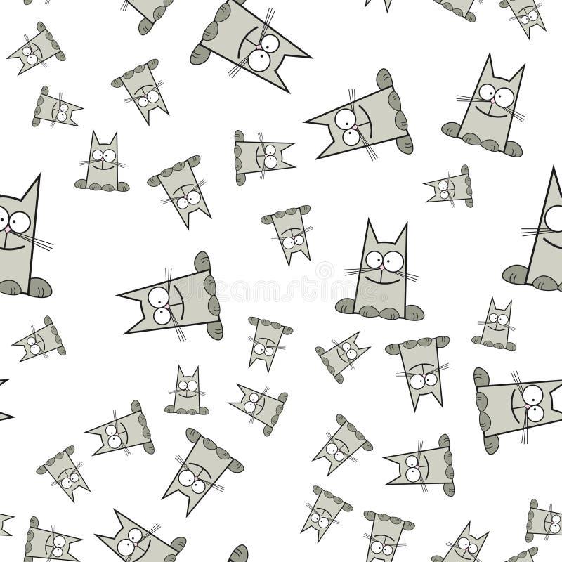 Bezszwowy wzór koty w kreskówka stylu ilustracja wektor