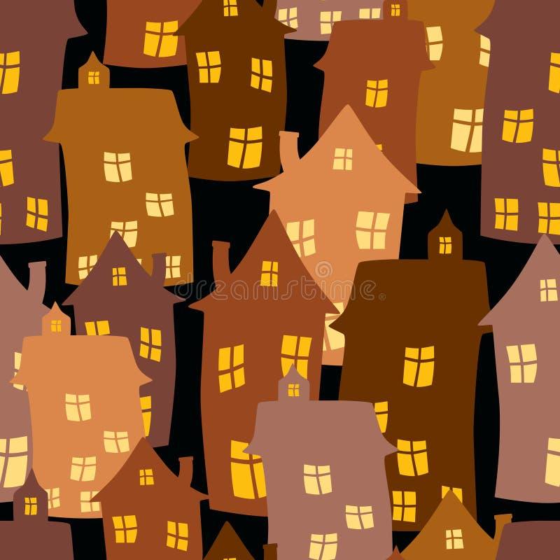 Bezszwowy wzór kreskówka domy ilustracji