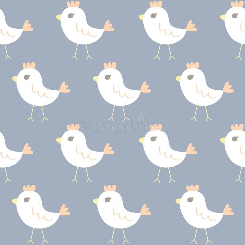Bezszwowy wzór kurczak kreskówka royalty ilustracja