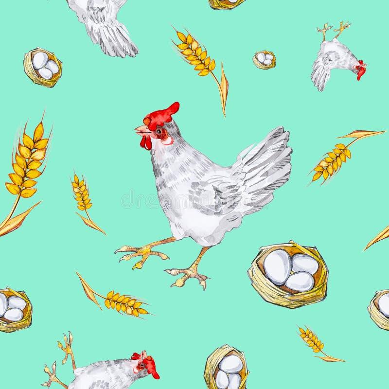 Bezszwowy wzór kurczak, kurczaka jajko w ucho, koszykowym i pszenicznym Akwareli ilustracja odizolowywająca na zielonym tle royalty ilustracja