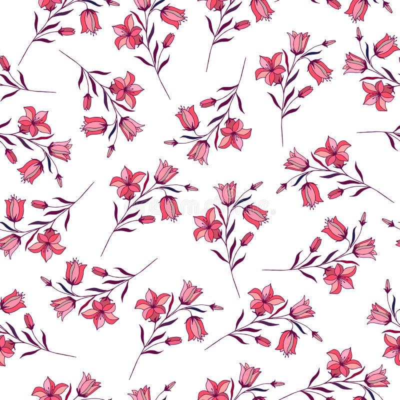 Bezszwowy wzór kwiatów dzwony pociągany ręcznie, wektorowe ilustracje royalty ilustracja