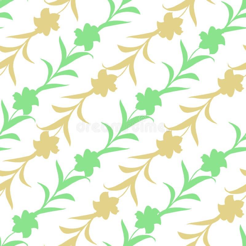 Bezszwowy wzór kwiat sylwetki przeplatał na białym tle Pastelowy kolor, kwiecisty ornament ilustracji
