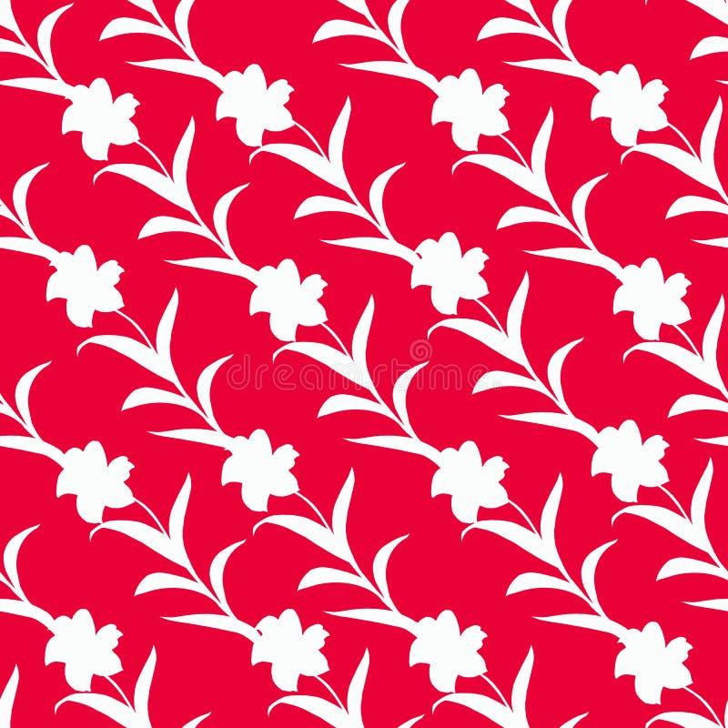 Bezszwowy wzór kwiat sylwetki przeplatał na czerwonym tle Biały kwiecisty ornament ilustracja wektor