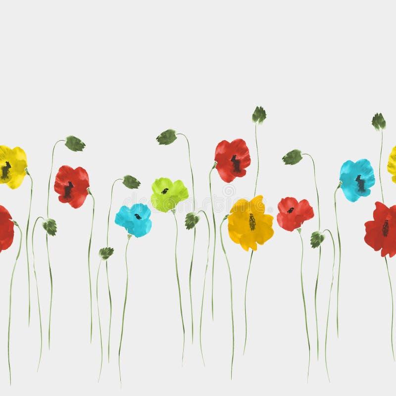 Bezszwowy wzór kwiaty i czerwoni maczki na świetle błękitni, żółci, zieleń, - szary tło akwarela ilustracja wektor