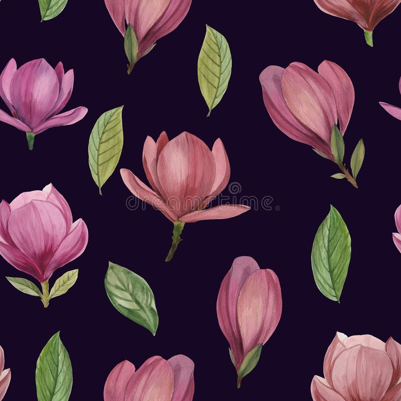 Bezszwowy wzór kwiaty i liście magnolia ilustracji