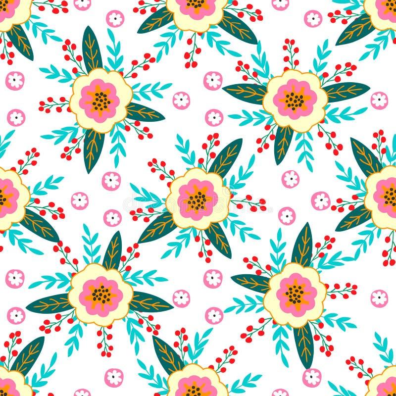 Bezszwowy wzór kwiaty, jagody, liście i gałązki fantazji rośliny, wektor ilustracji