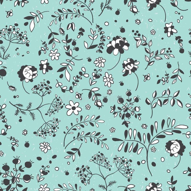 Bezszwowy wzór kwiaty, liście, gałązki Kwiecista tkanina łata ilustracja wektor
