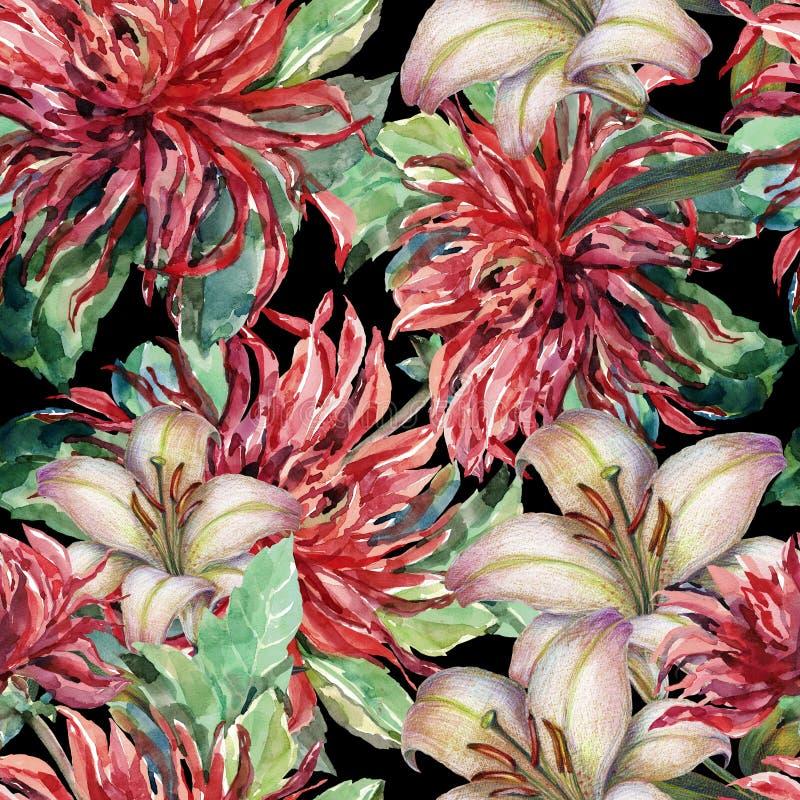 Bezszwowy wzór kwitnie dla bożych narodzeń na czarnym tle ilustracji