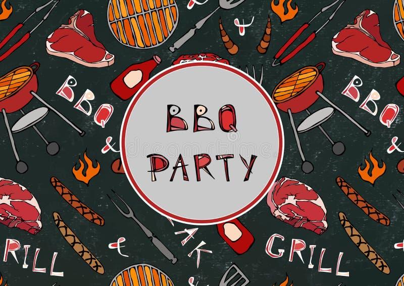 Bezszwowy wzór lata BBQ grilla przyjęcie Stek, kiełbasa, grill siatka, Tongs, rozwidlenie, ogień, ketchup Czarny Deskowy tło i royalty ilustracja