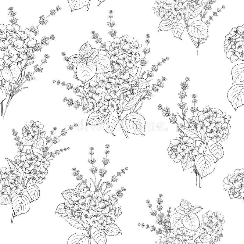 Bezszwowy wzór lawenda kwitnie na białym tle Dachówkowy wzór z lawendą dla tkaniny swatch royalty ilustracja