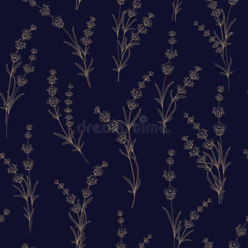 Bezszwowy wzór lawendowi kwiaty ilustracja wektor
