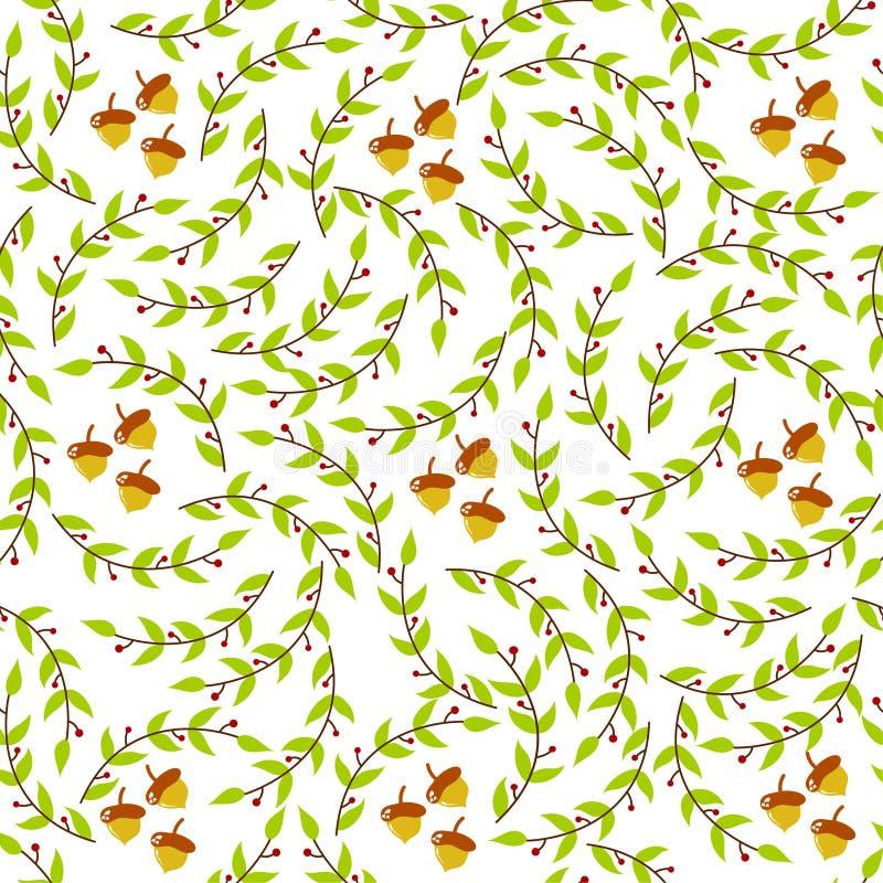 Bezszwowy wzór liście i dąb, natury tapeta obraz royalty free