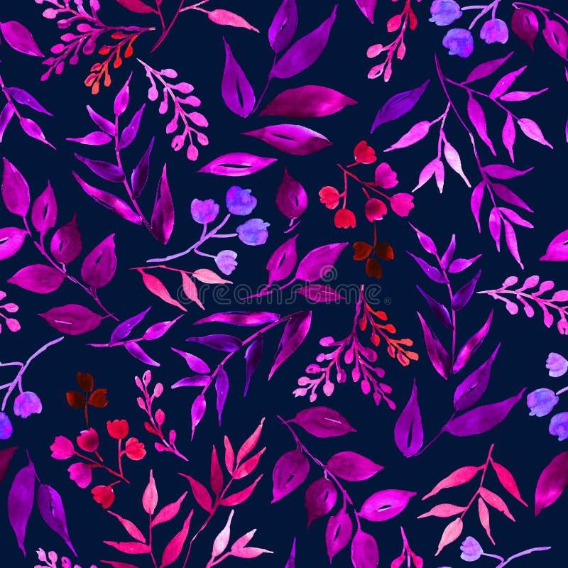 Bezszwowy wzór liście, ziele, tropikalna roślina royalty ilustracja