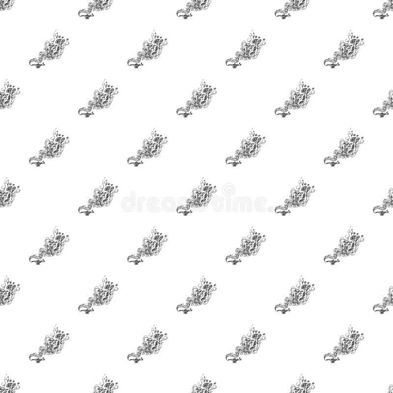 Bezszwowy wzór magiczna genies lampa odizolowywająca na białym tle Set bezszwowi kwieciści elementy Magiczna nafcianej lampy lini royalty ilustracja