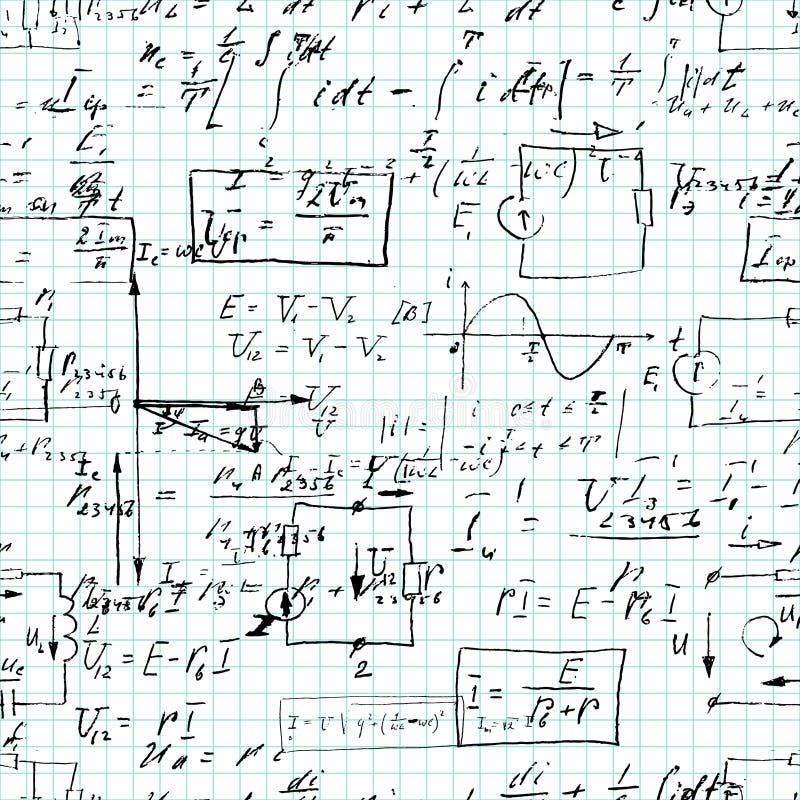 Bezszwowy wzór, matematycznie operacje i podstawowe funkcje, niekończący się arytmetyka na copybook siatki papierze ilustracja wektor