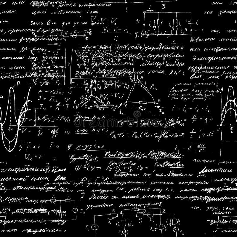 Bezszwowy wzór, matematycznie operacje i podstawowe funkcje, niekończący się arytmetyki czerni tło ilustracja wektor