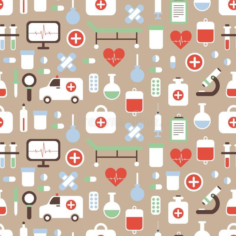 Bezszwowy wzór medyczny i zdrowie wektor ilustracja wektor