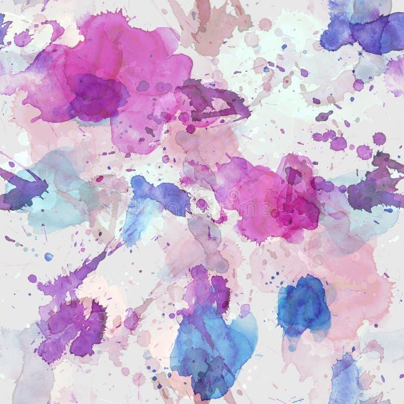 Bezszwowy wzór menchii, błękita i purpur akwarela, zaplamia dla tła royalty ilustracja