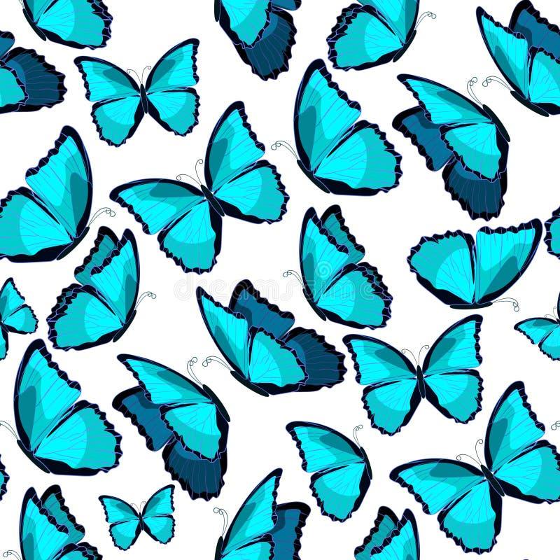 Bezszwowy wzór motyliego błękitnego morpho monarchiczny wektorowy illust ilustracja wektor