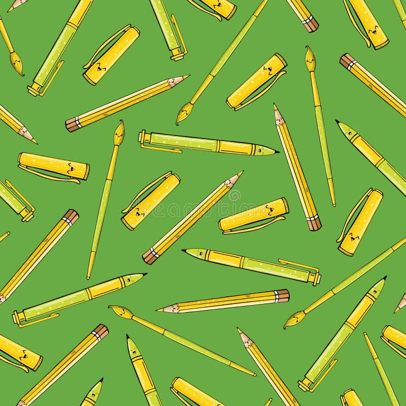 Bezszwowy wzór muśnięcia i ołówki na zielonym tle royalty ilustracja